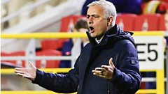 Tottenham boss Jose Mourinho reacts during his side's Europa League group defeat to Royal Antwerp