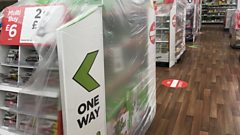 shelves covered in plastic