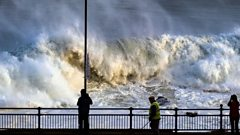 Huge waves crashed along the shore at Portstewart from the remnants of Hurricane Epsilon
