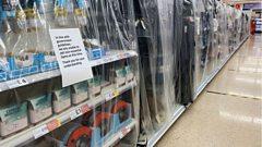 supermarket shelves covered in plastic