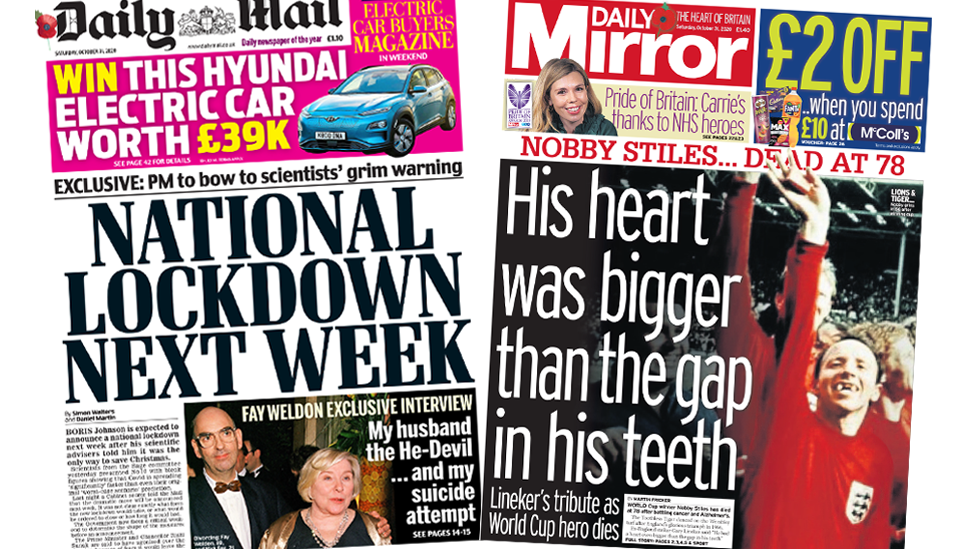 Daily Mail and Daily Mirror front pages 31 October 2020