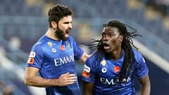 Bafetimbi Gomis celebrates after scoring for Al Hilal