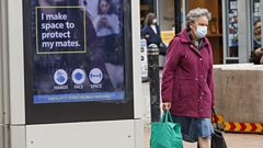 A government health warning is displayed in Sheffield, after a range of new restrictions to combat the rise in coronavirus cases came into place in England.