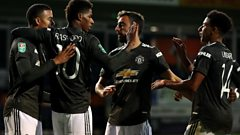Man Utd players celebrating scoring against Luton