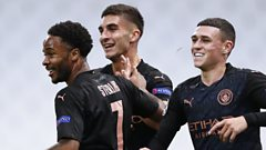 Man City forwards Raheen Sterling, Ferran Torres and Phil Foden