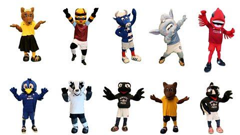 Mixture of football mascots