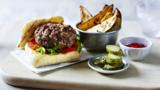 Beef burger with thyme potato wedges