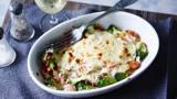 Broccoli and salmon bake