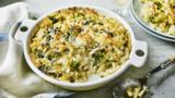 Lighter lemony pasta and spinach bake
