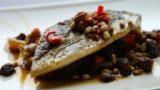 Pan-fried mackerel with caponata