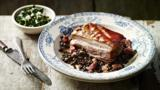 Pork belly with lentils and black cabbage salsa