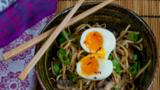 Speedy miso noodles with soft boiled egg