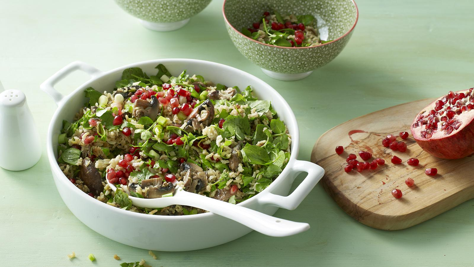Mushroom wild rice salad with pomegranate and spring onion