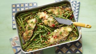 Calcium rich recipes bbc food spicy mozzarella aubergines with green beans and chickpeas forumfinder Images