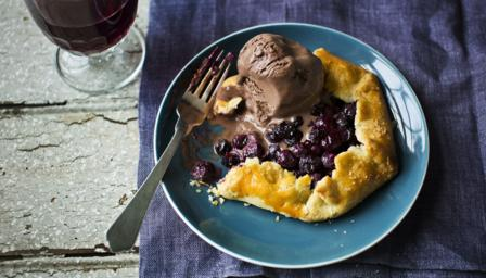 Blueberry galette with instant chocolate ice cream