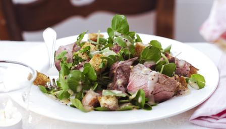 Chargrilled steak with beer, mustard and watercress salad
