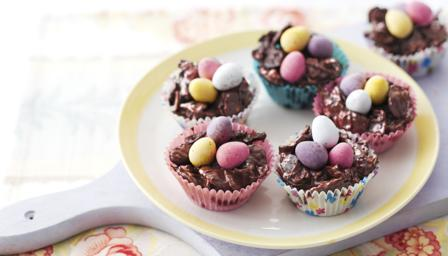 Chocolate Easter Egg Nest Cakes Recipe Bbc Food