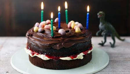Marvelous Easy Chocolate Birthday Cake Recipe Bbc Food Funny Birthday Cards Online Alyptdamsfinfo