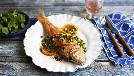 Fried red mullet with oranges and capers recipe bbc food for Mullet fish recipe