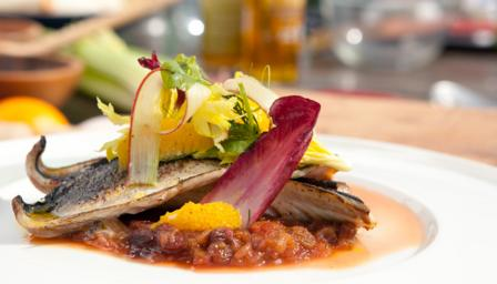 Mackerel with rhubarb chutney and orange and chicory salad