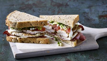Chicken, bacon, mozzarella and guacamole sandwich