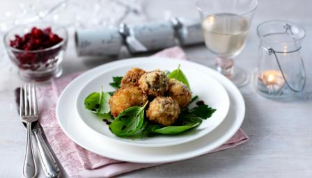 Stilton-stuffed mushrooms with cranberry relish
