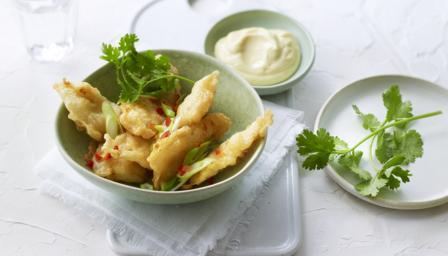 Tempura squid with garlic aioli