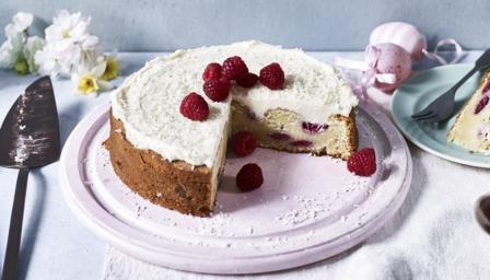 White chocolate and raspberry cake recipe - BBC Food