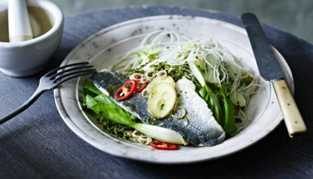Steamed sea bass with bok choi, ginger, lemongrass and a rice noodle salad