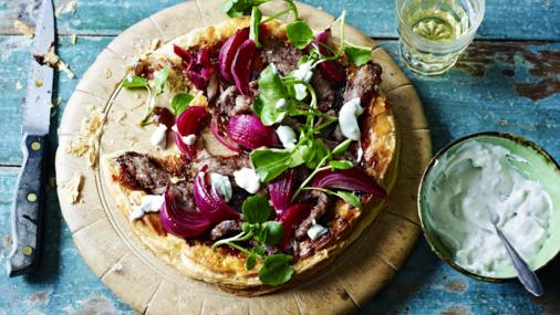 Beef and blue cheese puff pastry pizza