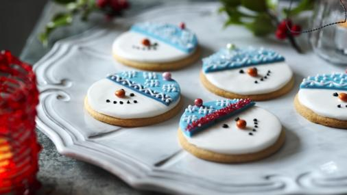 BBC Food - Recipes - Snowman biscuits (Christmas cookies)