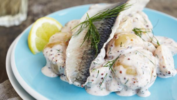 Herring with dill and mustard potato salad