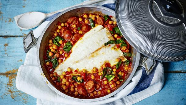 Pollack, chorizo and chickpea stew