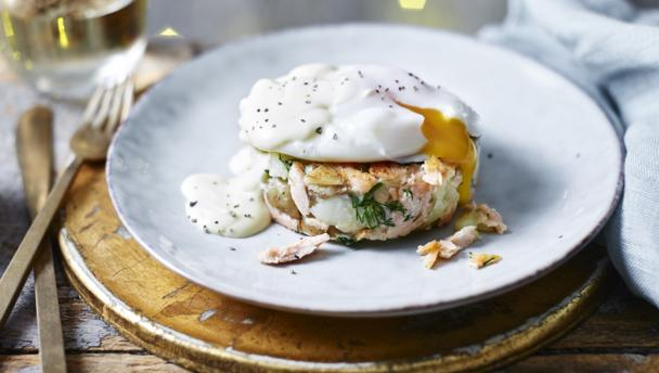 Bbc Food Recipes Smoked Salmon Hash Brown With Poached Egg And Hollandaise