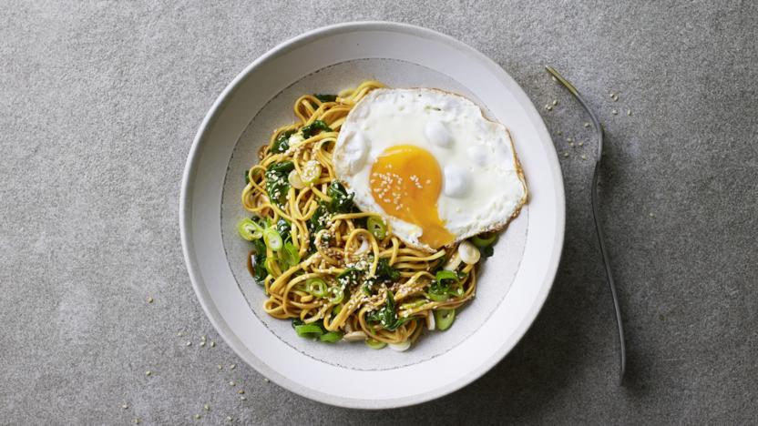 £1 hoisin, spinach and egg noodles