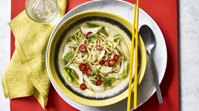 5-minute chicken noodle soup