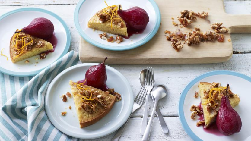 Almond cake with pears poached in red wine