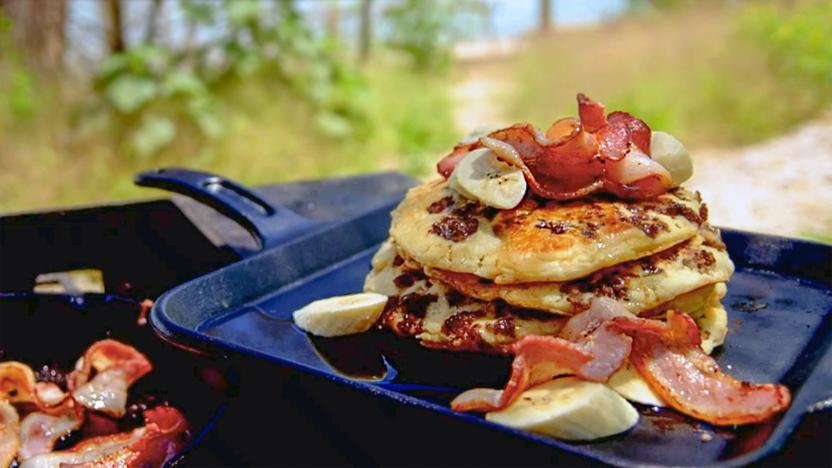 American style pancakes with sausage