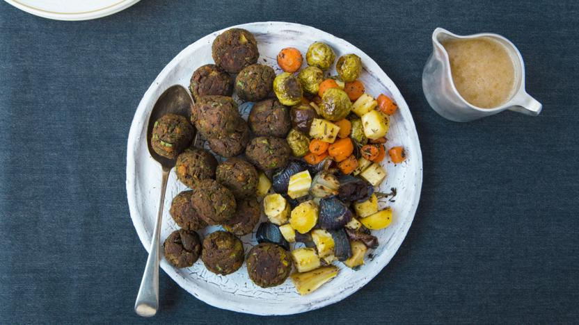 Apricot, chestnut and aduki balls with roasted vegetables and white wine miso gravy
