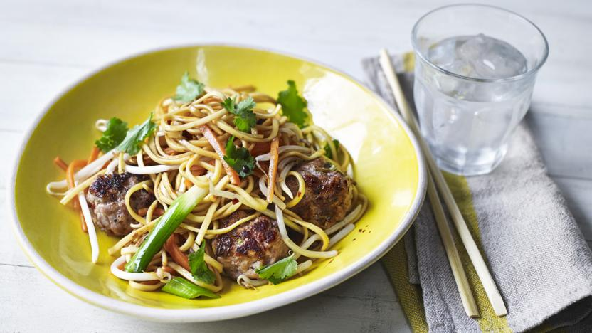 Asian meatball noodle stir-fry
