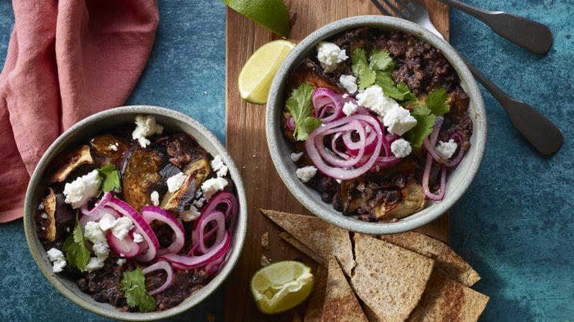 Aubergine and black bean bowl