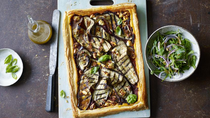 Aubergine and feta tart