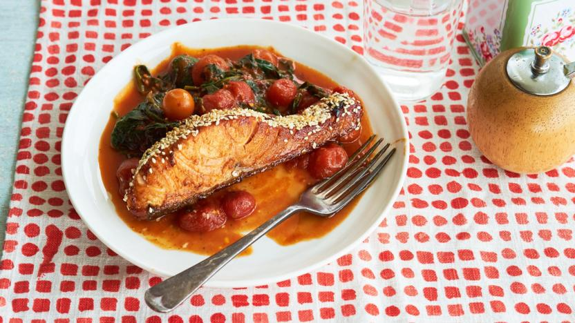 Balsamic-glazed sesame salmon with spicy cherry tomatoes and spinach