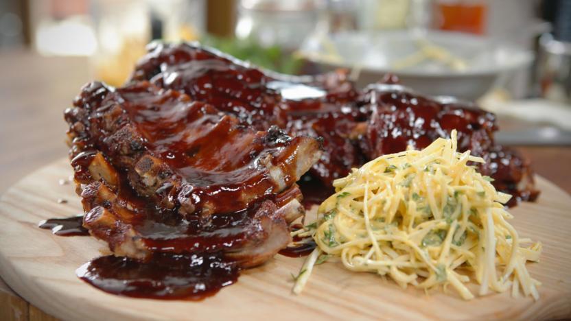 Barbecue ribs with celeriac slaw