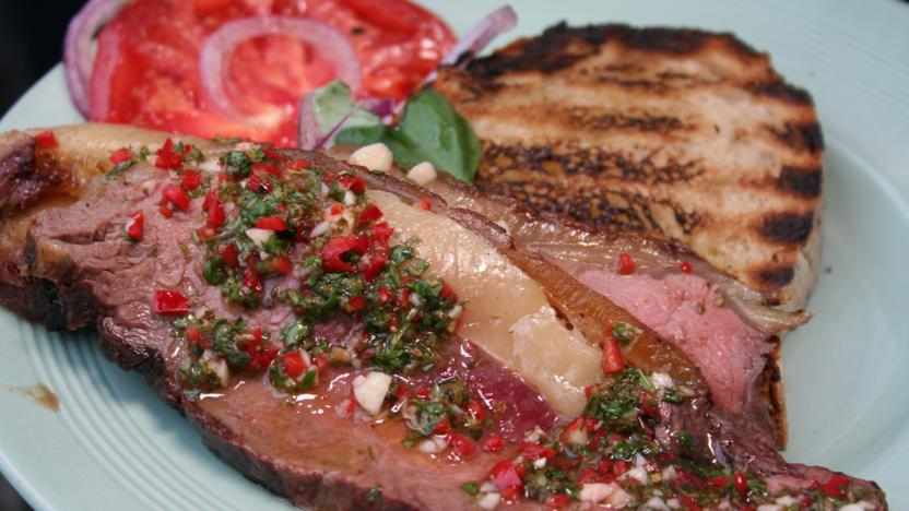 Barbecued sirloin with chimichurri sauce