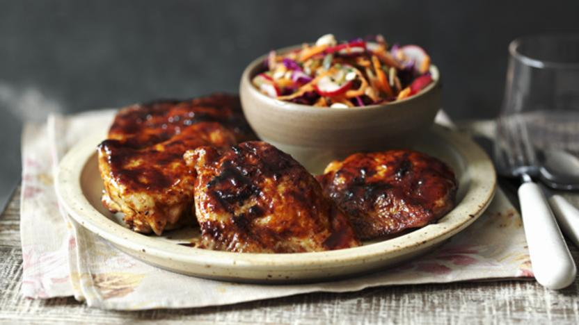 BBQ chicken with coleslaw