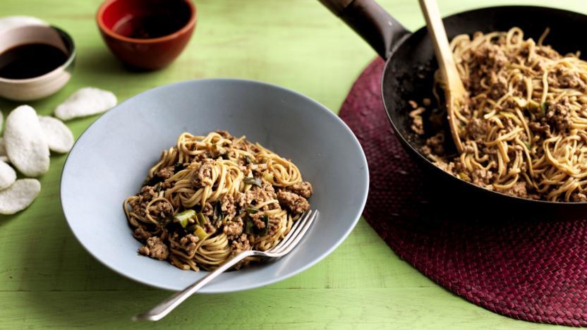 Pork noodles with bean sauce