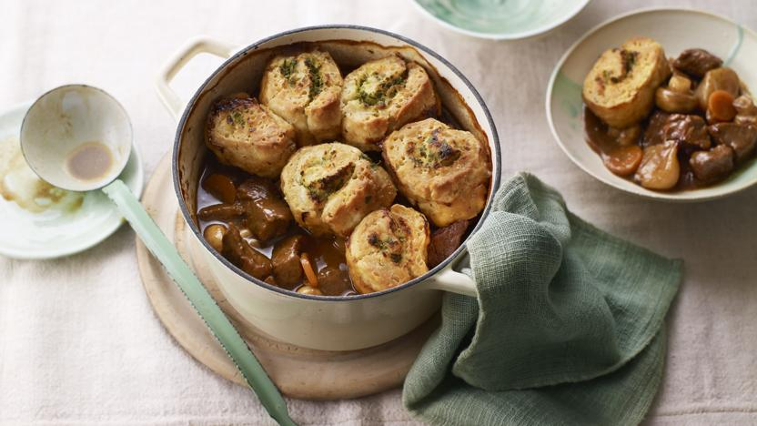 Beef and ale stew with horseradish dumplings
