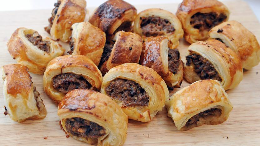 beef and horseradish sausage rolls recipe bbc food