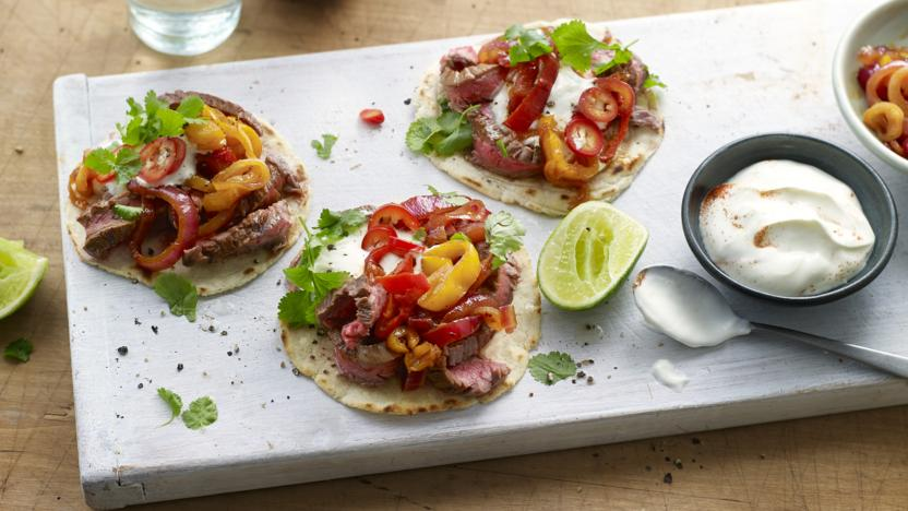 Beef tacos with sweet pepper relish